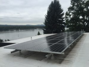 solar panels installed on a commercial building roof